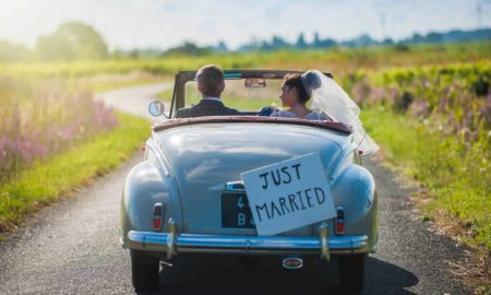 Just-married-wedding-car