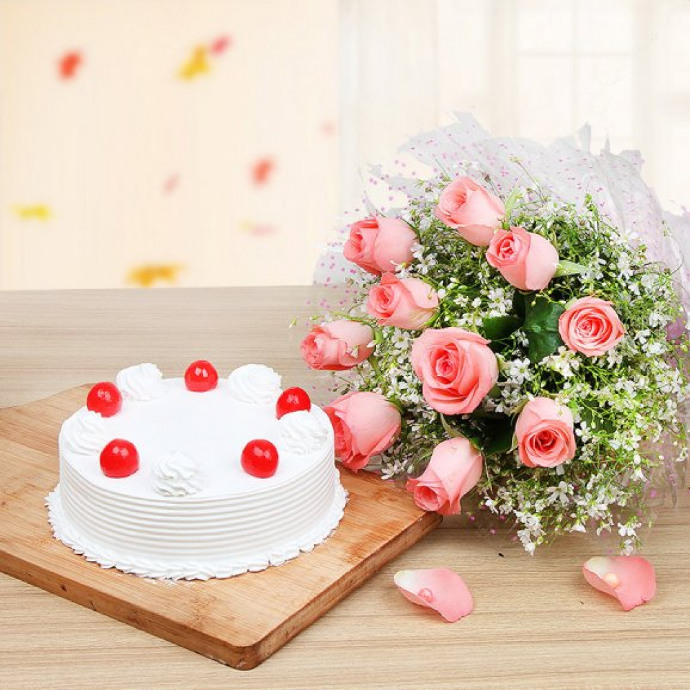 Flower and Cakes Combo