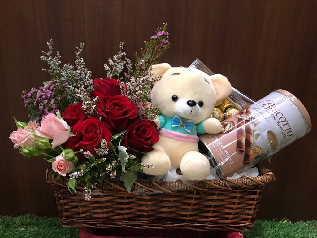 A Hamper of Flower and Chocolate