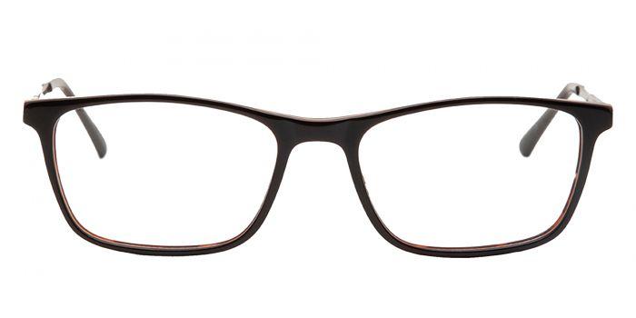 Brown Black Rectangular Acetate Frame with Metal Temple - Reading Eyeglasses